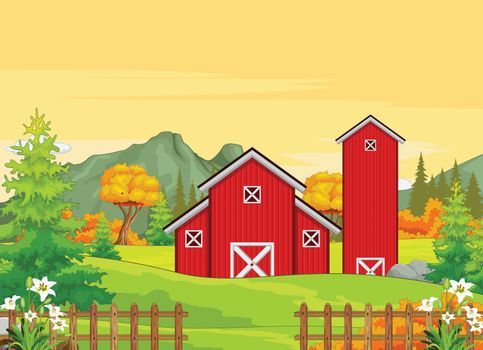 Farm House With Autumn Forest Background