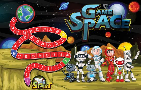 Game Space With Robot and Outer Space Background