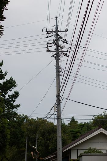 electric pole and cables in japan, silhouette