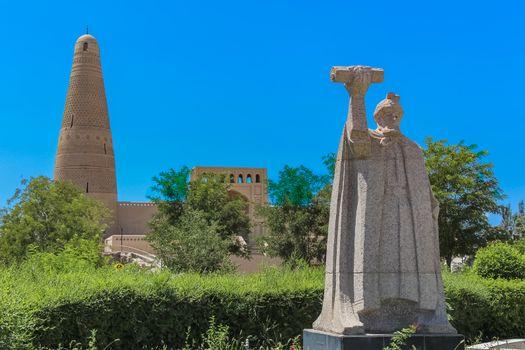Statue of Turpan general Emin Khoja in front of Emin Minaret, Turpan, Xinjiang , China