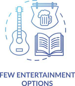 Few entertainment options blue concept icon