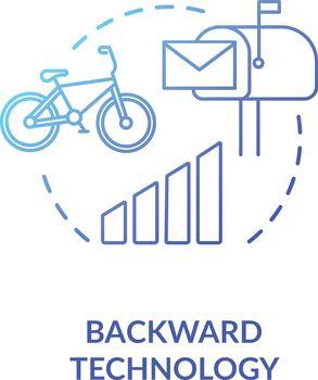 Backward technology blue concept icon