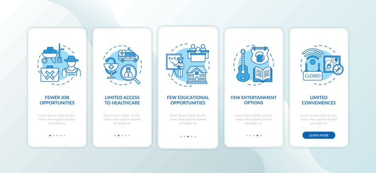 Suburb disadvantages onboarding mobile app page screen with concepts