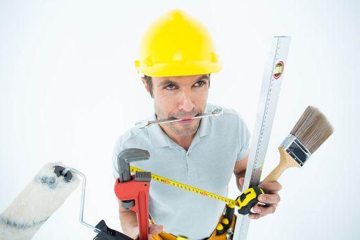 Carpenter with various equipment
