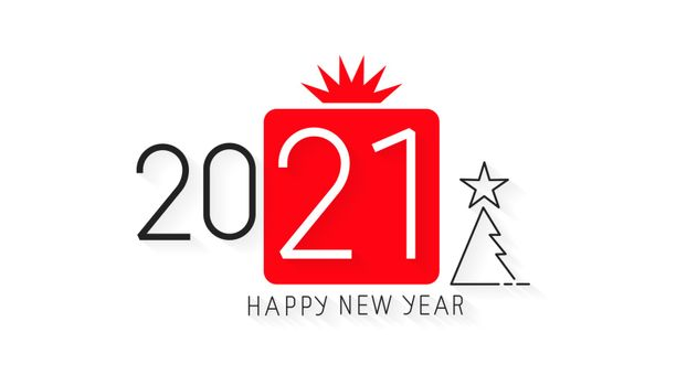 Happy New Year 2021 Design.Vector Illustration Brochure Design Template, Card, Banner. Vector Illustration. Isolated On White Background.