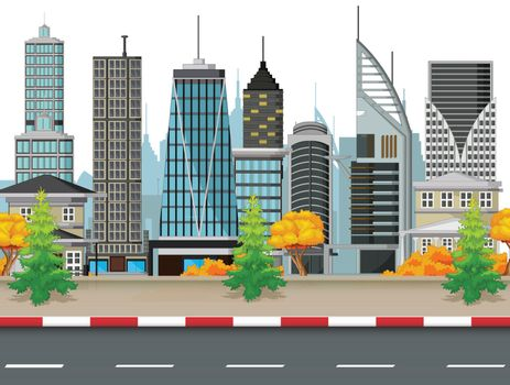 Futuristic Building With Road and Town Background