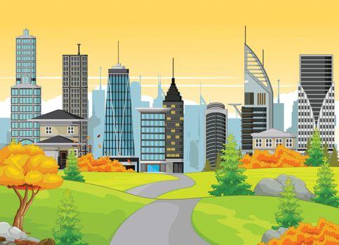 Futuristic Building With Autumn Meadow and Town Background