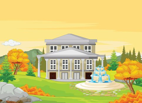 White House With Autumn Forest Background