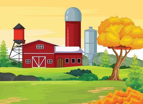 Farm House With Autumn Meadow Background