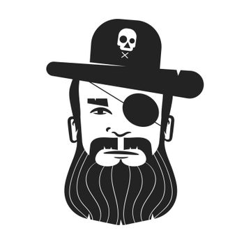 Pirate Head Of A One-eyed Pirate With A Beard And Mustache On A White Background. Logo For Posters, Posters