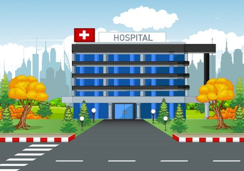 Hospital Building With Town Background