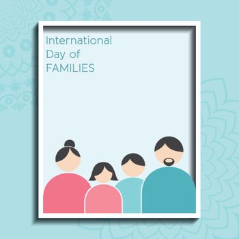 Illustration of International Day of Families. Concept of a family of 4 people - father, mother, son and daughter