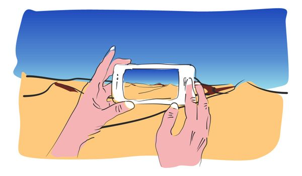 Drawing of hands taking a picture with your smartphone of a desert where you can see some dunes. Vector image