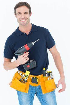 Carpenter holding portable drill machine