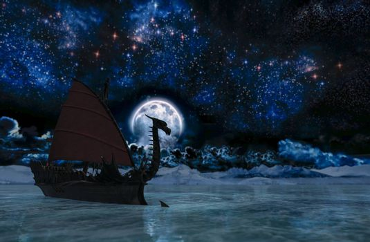 Viking warship at moonlight - 3D rendering
