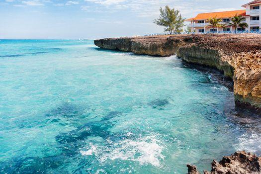 Volcanic tuff coast and azure Caribbean sea. Varadero, Cuba.