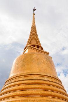 Golden stupa in Wat Saket Ratcha Wora Maha Wihan (the Golden Mount). Bangkok, Thailand.