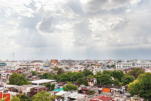 Bangkok, panorama view from the Wat Saket (the Golden Mount). Large cityscape. Thailand.