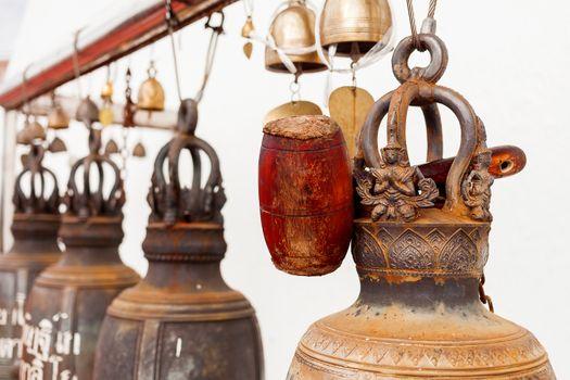 Sacral bells in Wat Saket Ratcha Wora Maha Wihan (the Golden Mount). Bangkok, Thailand.