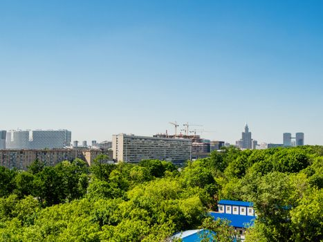 Panorama view on buildings and parks in Aeroport district of Moscow. Russia.