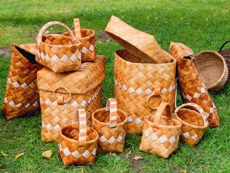Baskets woven of birch bark. Ancient slavic storage boxes for food. Handmade eco-friendly bags.