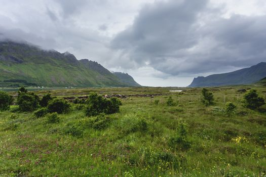 Beautiful scandinavian landscape with meadows, mountains and sto