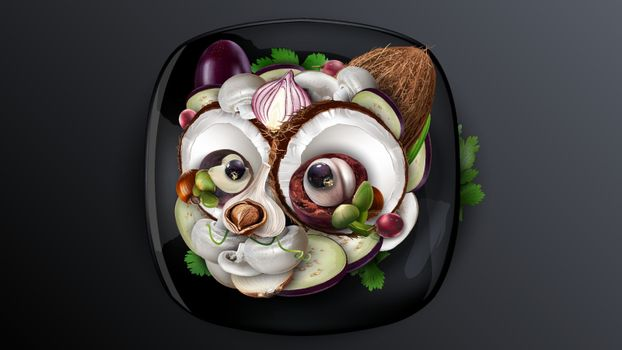 Cat head made of food collage including vegetables and fruits.