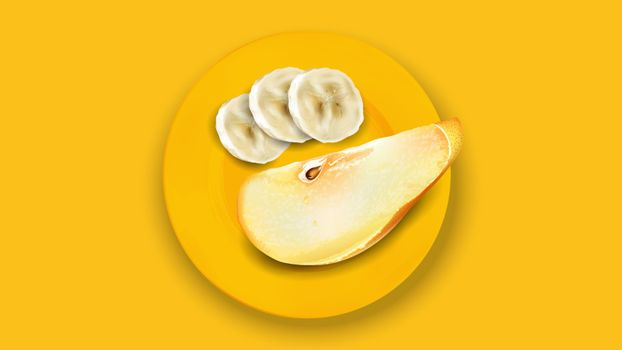 Sliced banana and pear on a yellow plate.