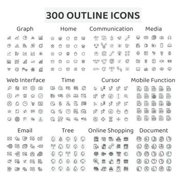 Set of 300 outline icons : graph ,home ,communication ,media ,web interface ,time ,cursor ,mobile function ,email ,tree ,online shopping ,document