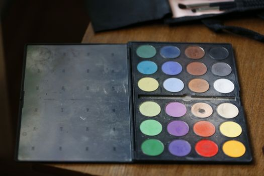 A set of eye shadow. A palette for shadows. Eye shadow.