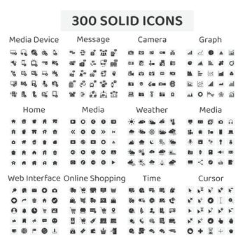 Set of 300 solid icons : media device ,message ,camera ,graph ,home ,media ,weather ,web interface ,online shopping ,time ,cursor.