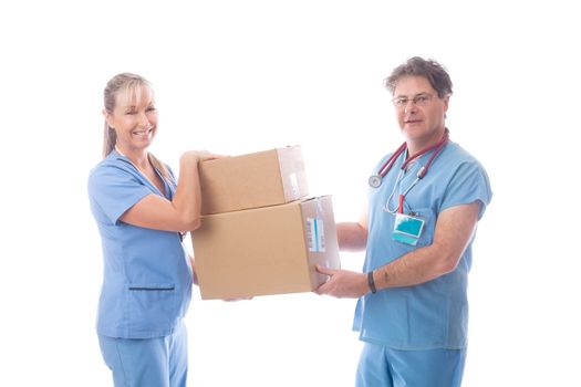 Medical healthcare workers holding a delivery of PPE or equipmen