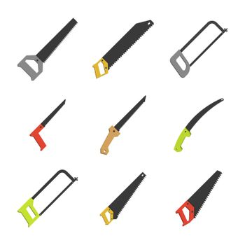 Set of different flat saws, vector illustration.