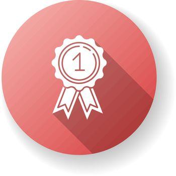 Reward red flat design long shadow glyph icon