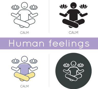 Calm icon. Man sit in lotus pose. Meditation for mental health. Concentrate on psychological wellbeing. Yoga for relaxation. Linear black and RGB color styles. Isolated vector illustrations