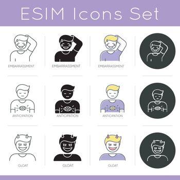 Human emotion icons set