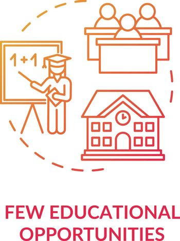 Few educational opportunities red concept icon