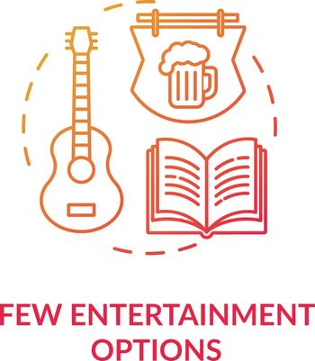Few entertainment options red concept icon