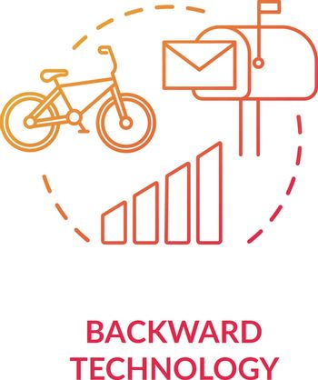 Backward technology red concept icon