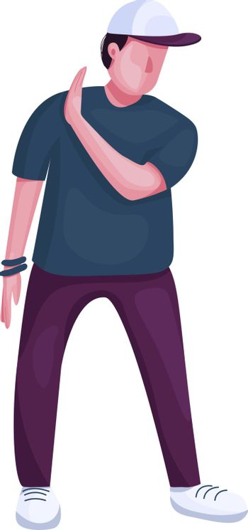 Teenager dancing flat color vector faceless character. Stylish guy showing refuse gesture. Modern break dance performer isolated cartoon illustration for web graphic design and animation