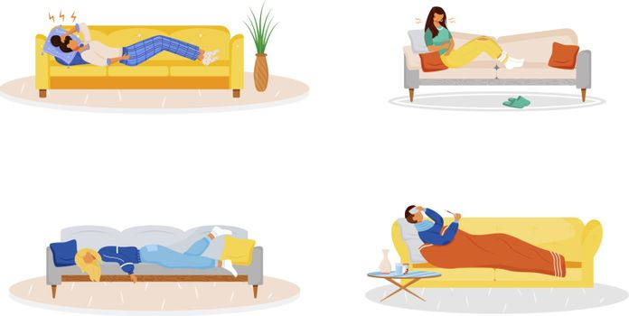 Lying on couch flat color vector faceless characters set. Sick people resting on sofa. Unwell man. Ill woman. Weakness from flu. Disease symptoms isolated cartoon illustrations on white background