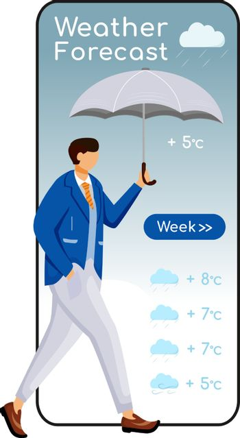 Weather forecast cartoon smartphone vector app screen. Mobile phone display, flat character design mockup. Guy in suit. Male with umbrella. Man in jacket. Meteorology application telephone interface