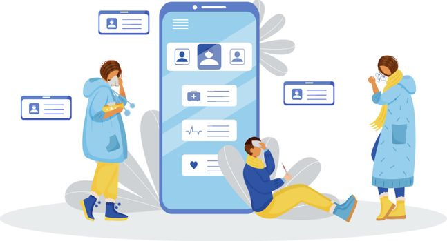 Unwell patients flat color vector faceless characters. Sick people. Online clinic consultation. Sick woman. Ill man. Mobile consultation. Symptoms of disease isolated cartoon illustration