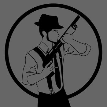 black and grey icon with line art of old-fashioned faceless man in hat with a shotgun