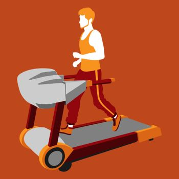 colorful illustration of ginger bearded faceless man running on the treadmill on orange background