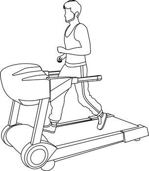 flat line art of faceless bearded man running on the treadmill