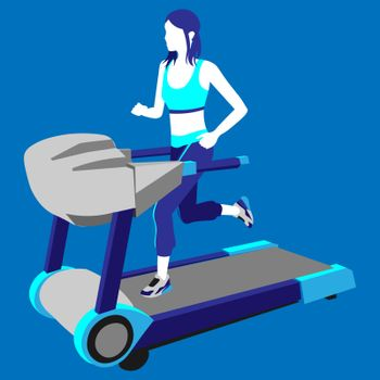 colorful illustration of faceless girl with ponytails running on the treadmill on blue background