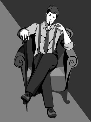 monochrome gray illustration of vintage man with a cane sitting on the armchair
