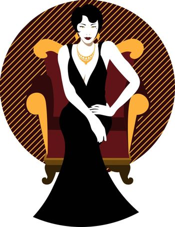 elegant vintage 20s' attractive woman with short hairstyle in black evening dress sitting on the armchair