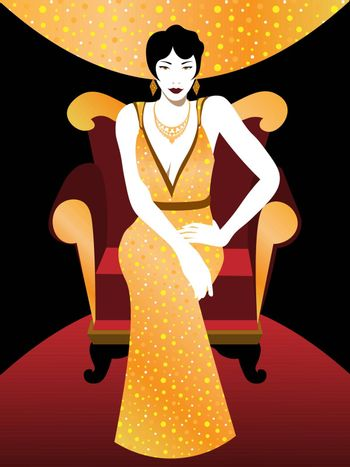 elegant vintage 20s' woman with short hairstyle in shiny evening dress sitting on the armchair